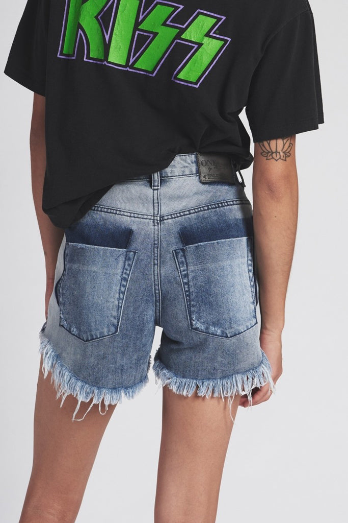 One Teaspoon Bonita Hi Waist Denim Short Rocky
