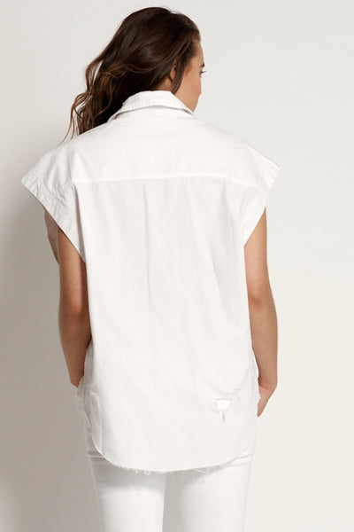 One Teaspoon Tommy Cut Off Shirt White
