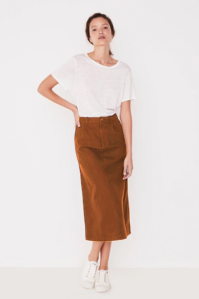 Assembly Santal Linen Skirt Terracotta