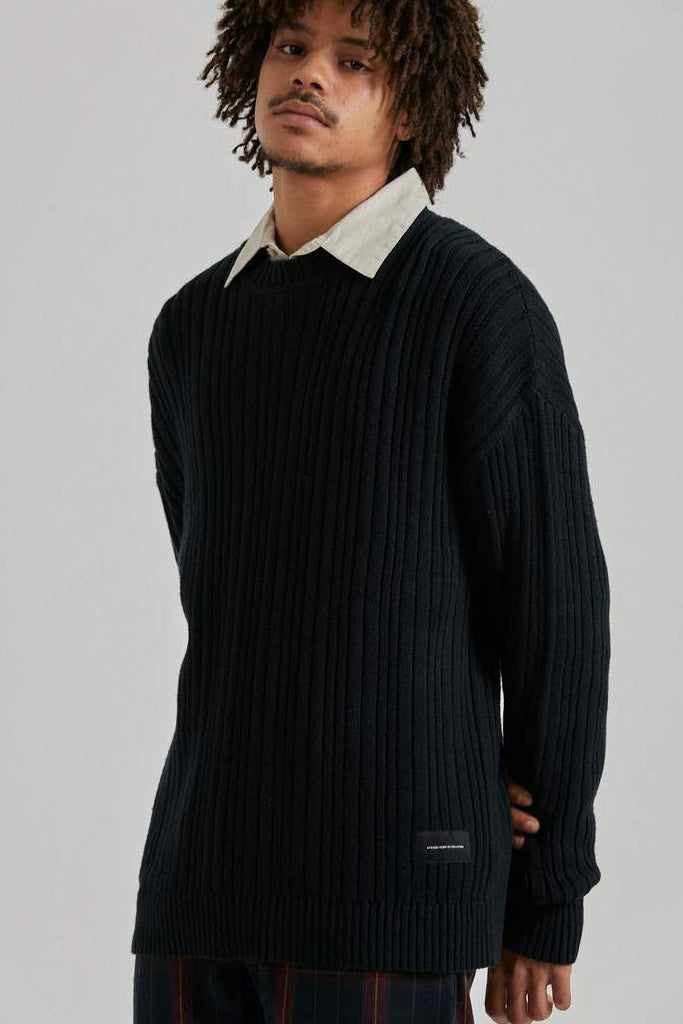 Afends Kai Hemp Knit Crew Black
