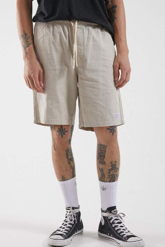 Afends Dendy Hemp Elastic Waist Walkshort Moonbeam