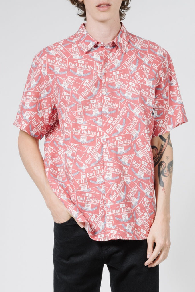 Thrills Bad Habits Short Sleeve Shirt Red