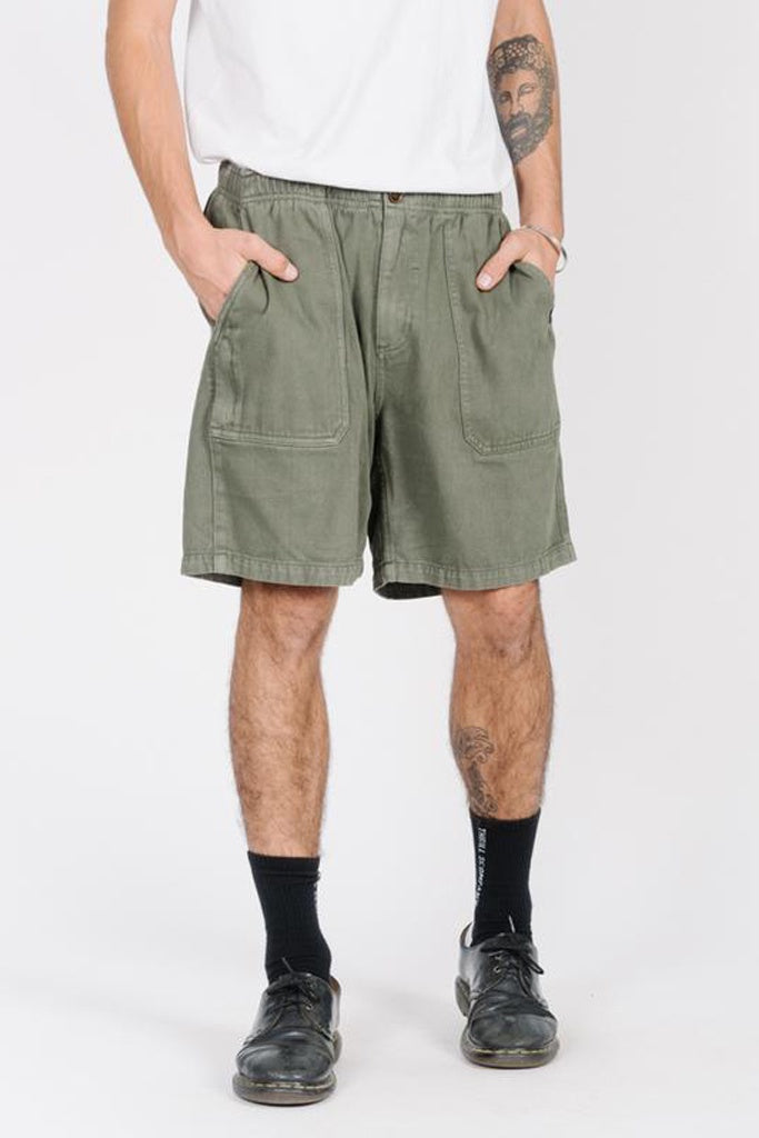 Thrills Drill Elastic Waist Short Army Green
