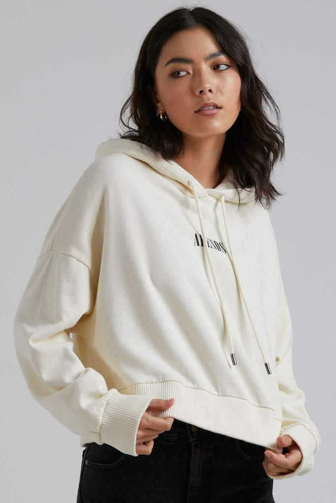Afends Rise Above Cropped Pull On Hood Cream