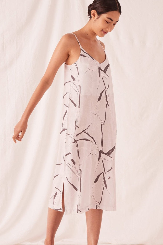 Assembly Linen Slip Dress Summer Bamboo Print