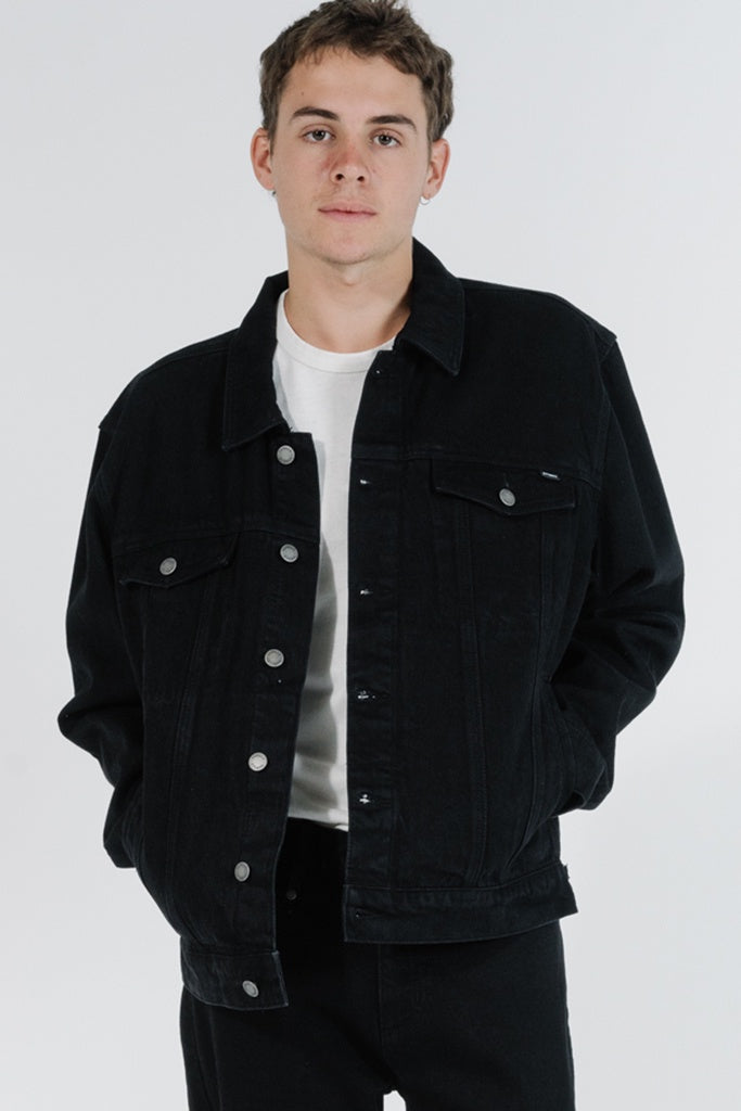 Thrills Oversized Wanderer Denim Jacket Black Rinse