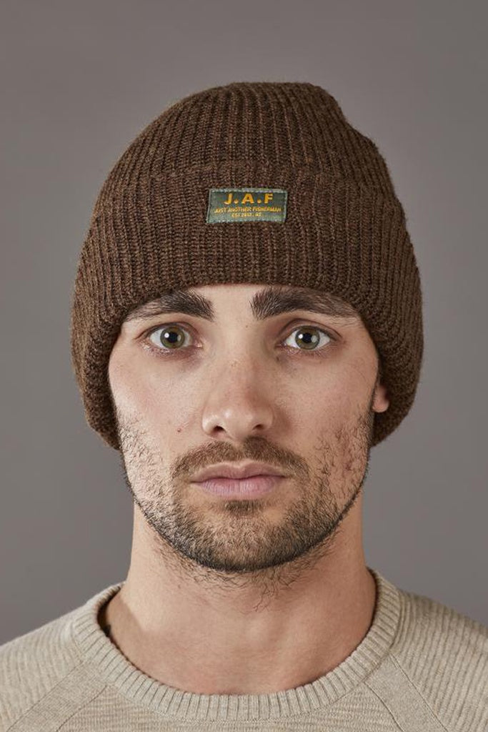 Just Another Fisherman Logo Beanie Brown