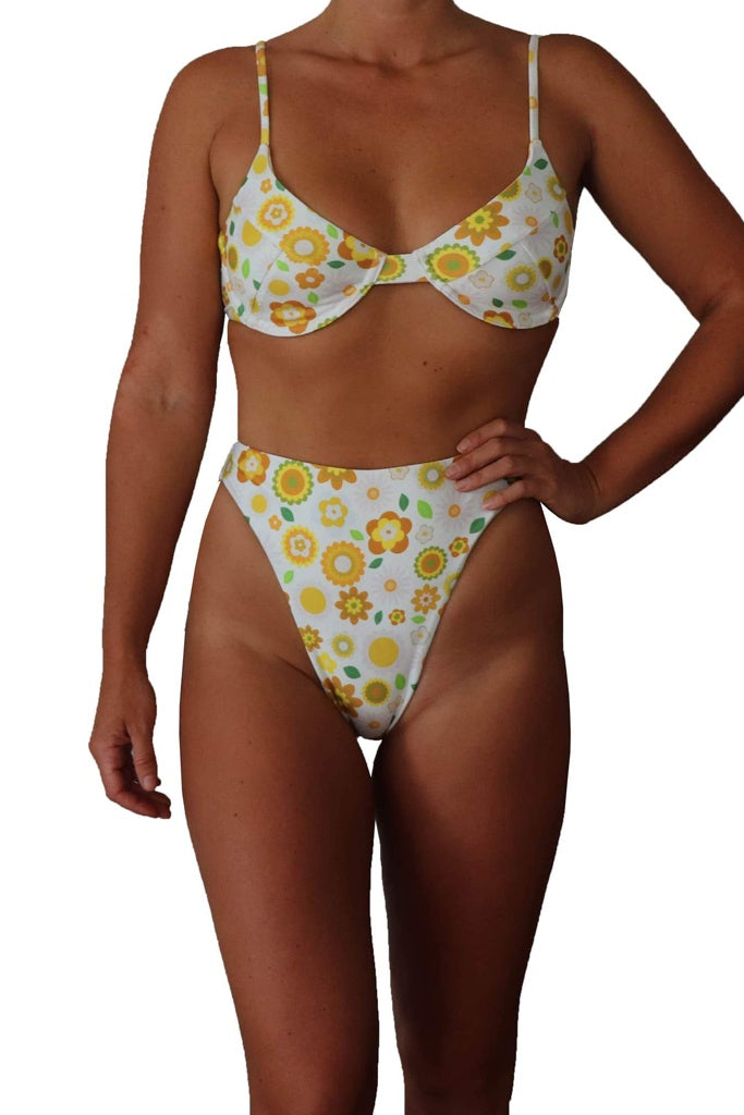 Inner Relm Virgo Sun bikini bottoms White Flower Print