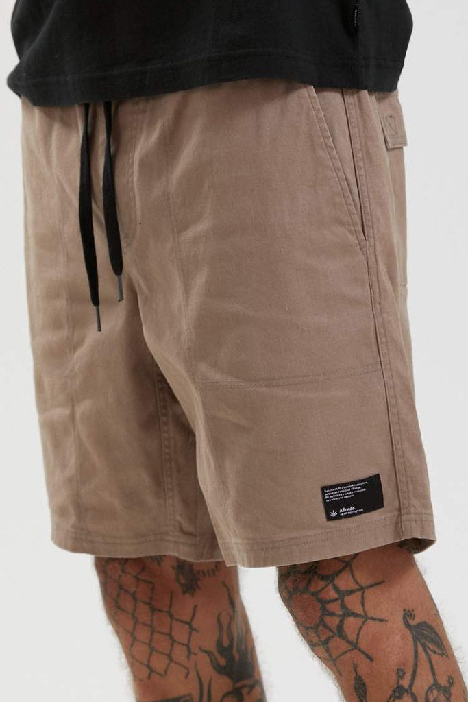 Afends Dendy Hemp Elastic Waist Walkshort Sand