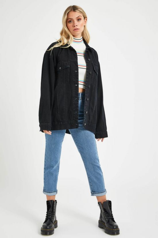 Abrand A Super Oversized Denim Jacket Overdyed Black