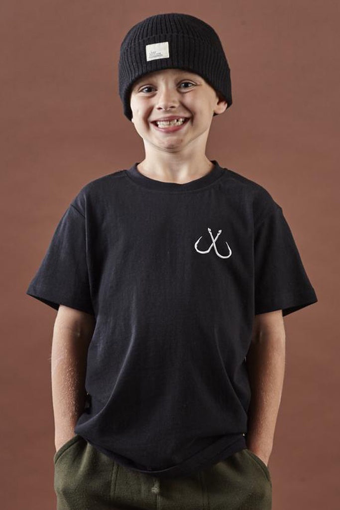 Just Another Fisherman Little Anglers Hook Tee Black