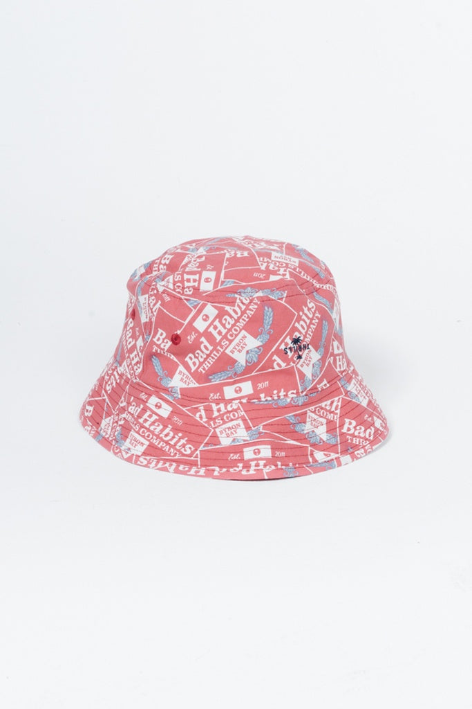 Thrills Bad Habits Bucket Hat Red