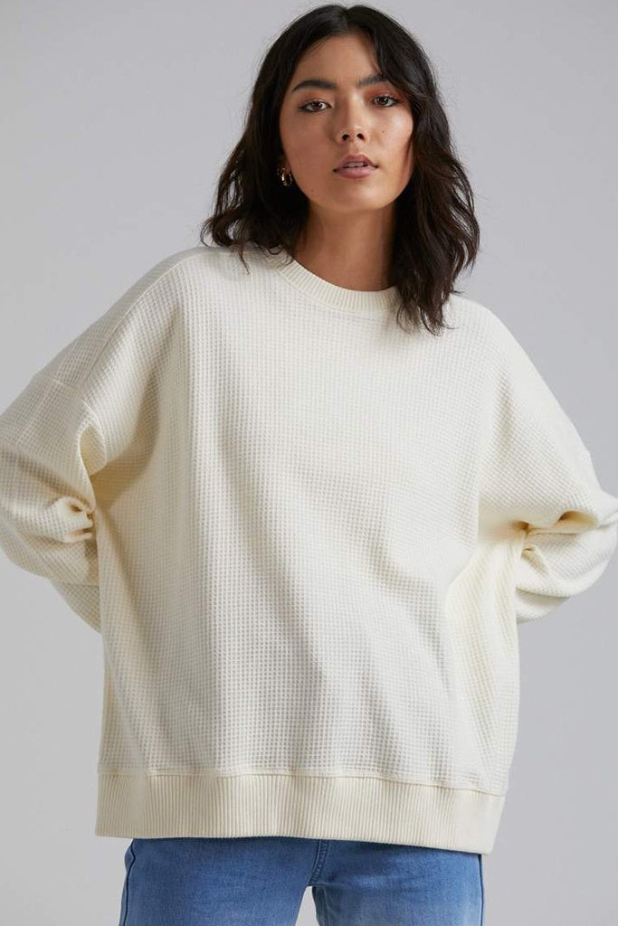 Afends Briar Waffle Slouchy Crew Cream