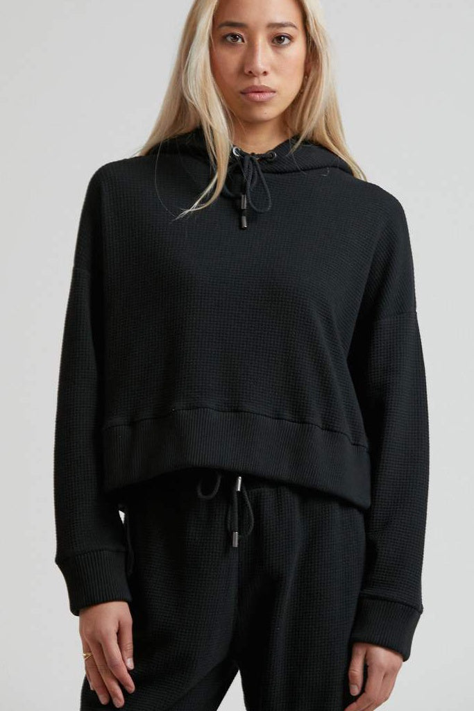 Afends Odie Waffle Cropped Pull On Hood Black