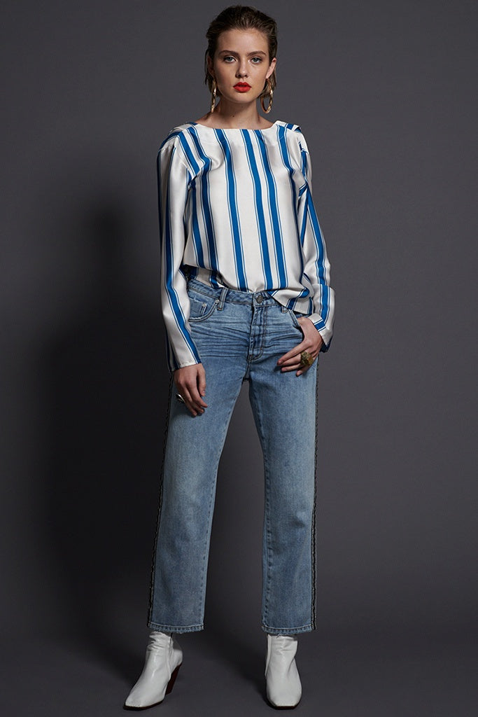 One Teaspoon Cocktail Stripe Backless Chloe Blue Cream Stripe