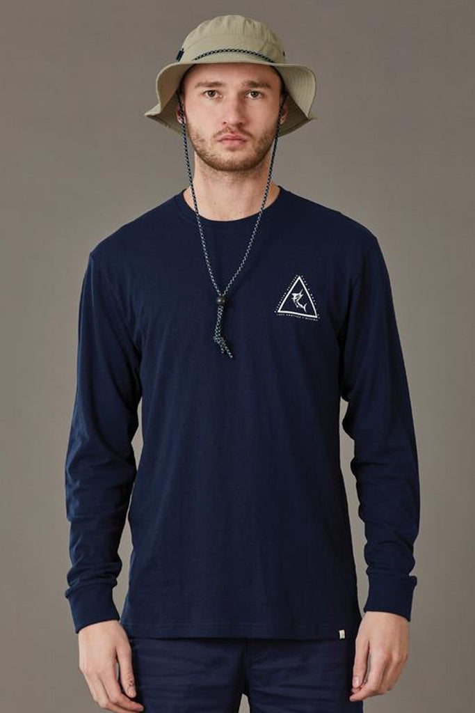 Just Another Fisherman Angled Marlin L/S Tee Navy