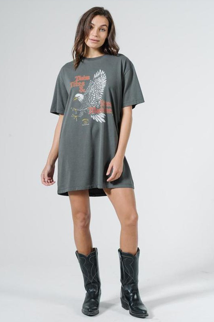 Thrills Eighty Seven Merch Tee Dress - Merch Black