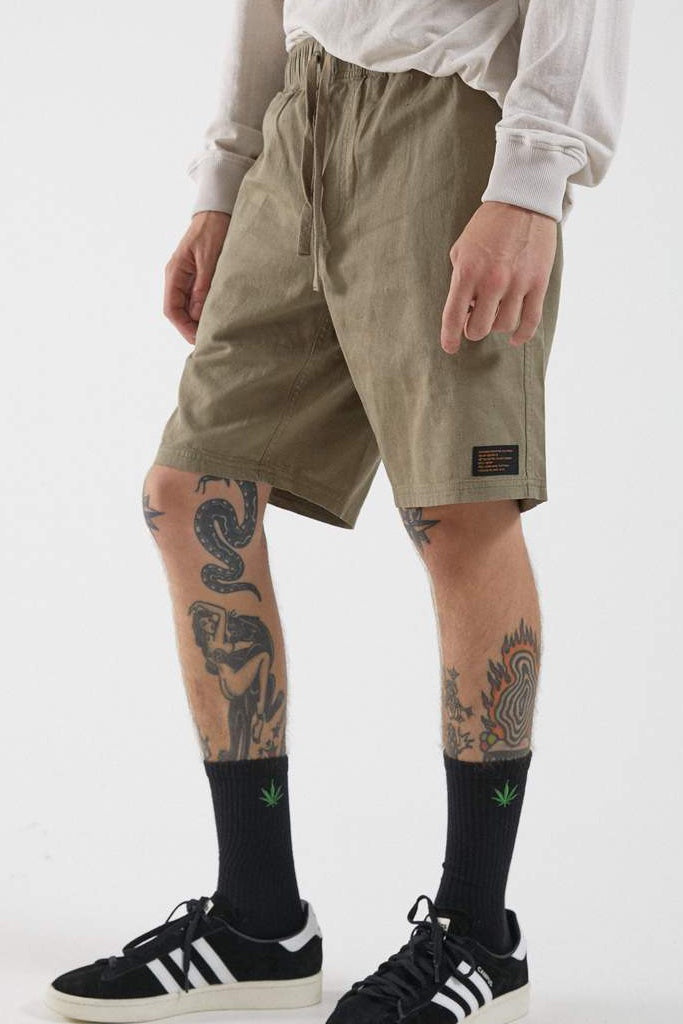 Afends Dendy Hemp Elastic Waist Short Military
