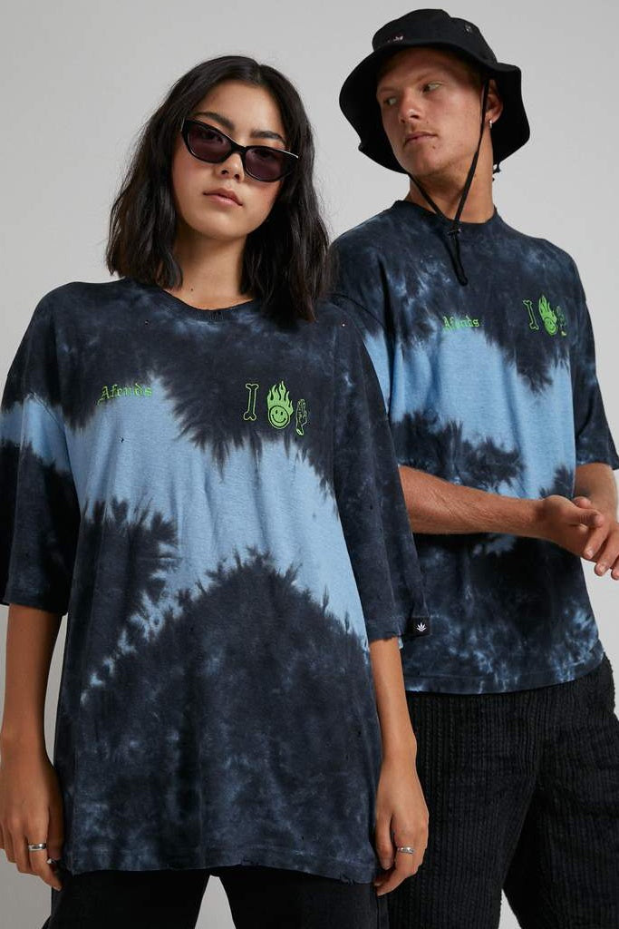 Afends Cool Death Unisex Oversized Tee Black Blue Tie Dye