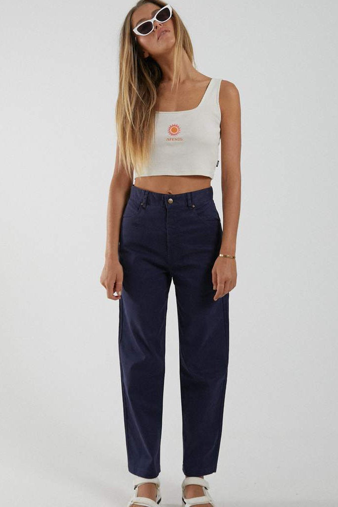 Afends Shelby Hemp High Waist Wide Leg Pant Navy