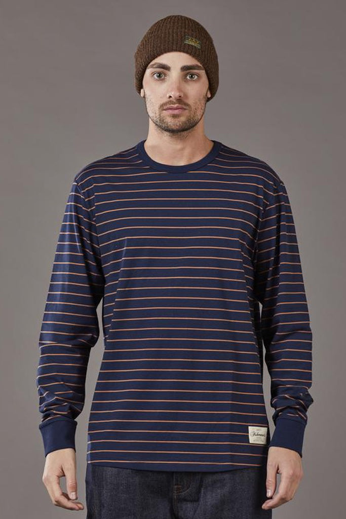 Just Another Fisherman Critter Stripe LS Tee Navy Rust