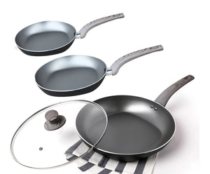 4 Piece Classic Nonstick 8 and 11 Inches Open Fry Pan and 12 Inches with Glass Cover