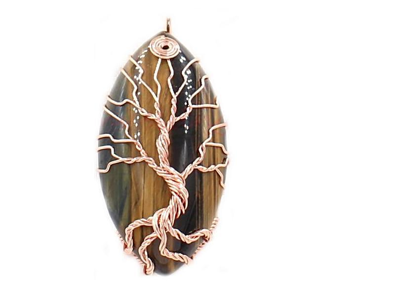 Tree of Life Cream & Tiger's Eye Pendant - deities