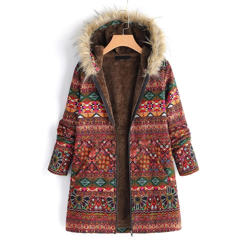 BOHO FUR HOOD COAT - deities