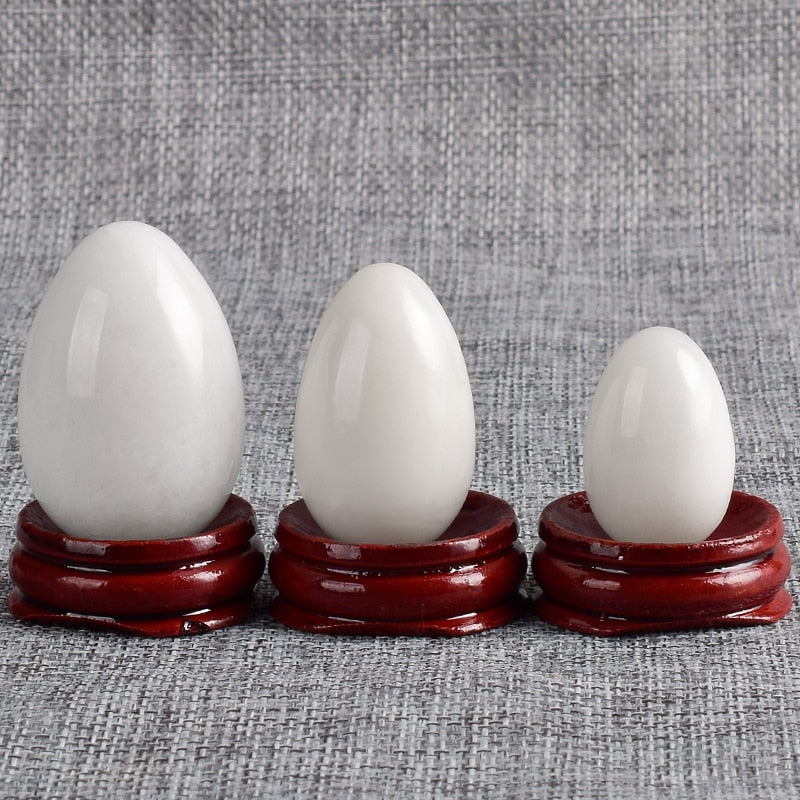 Undrilled Natural White Jade Massage  Yoni Eggs - deities