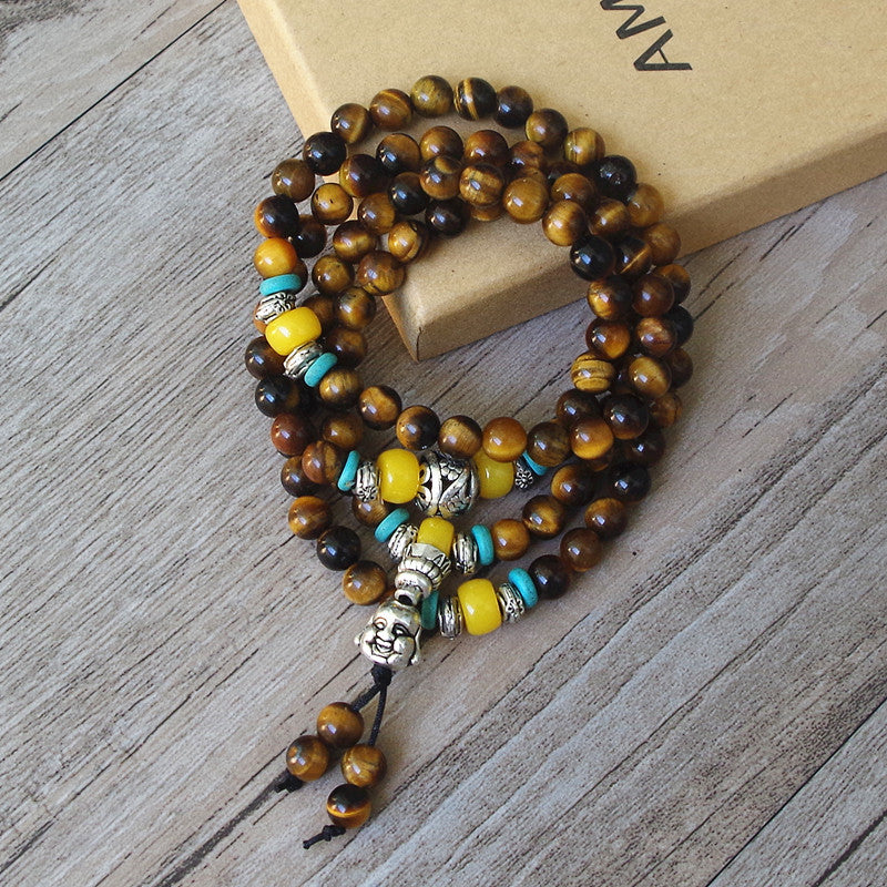 LAUGHING BUDDHA TIGER'S EYE MALA BEADS NECKLACE - deities