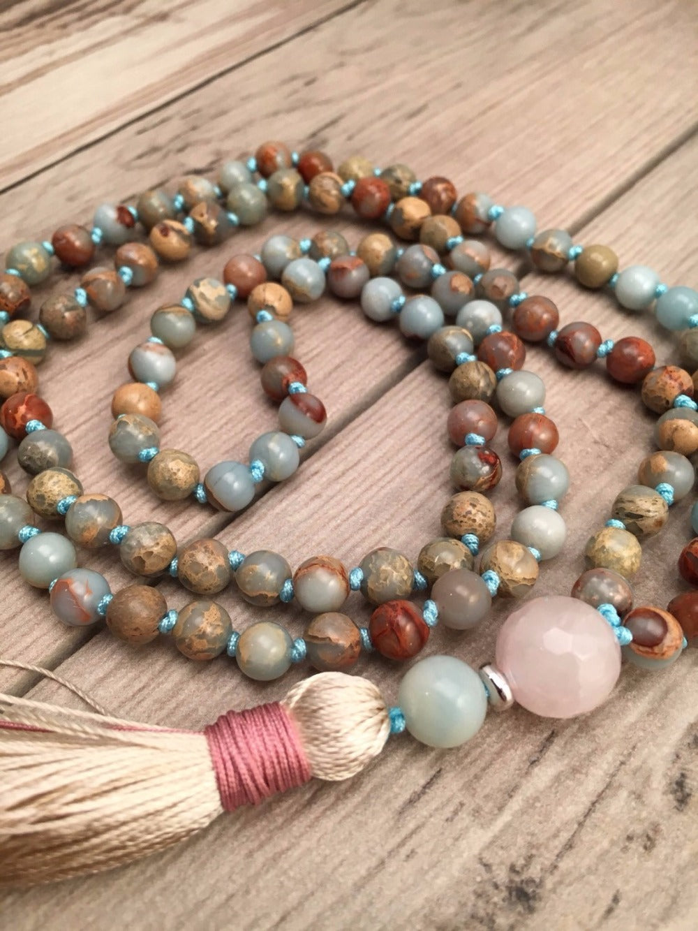 NATURAL AQUA TERRA JASPER MALA - deities