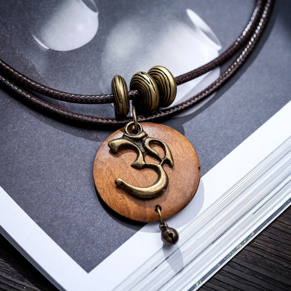 OM & NATURAL WOOD PENDANT DOUBLE NECKLACE - deities