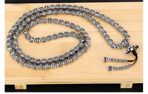 SILVER TIBETAN BEADS OM WORDS MALA - deities