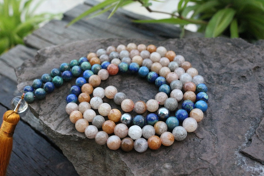 SUNSTONE FLOWER LAPIS MALA - deities