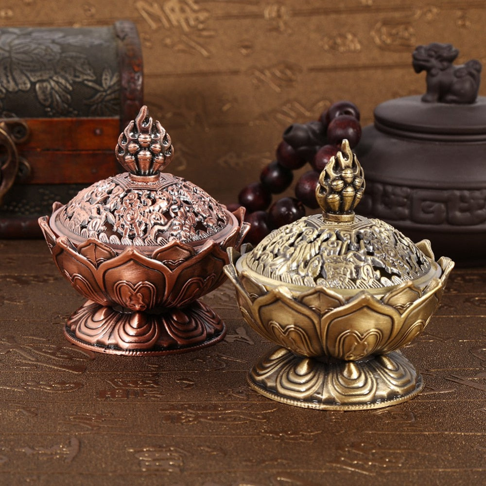 BRONZE LOTUS INCENSE BURNER - deities