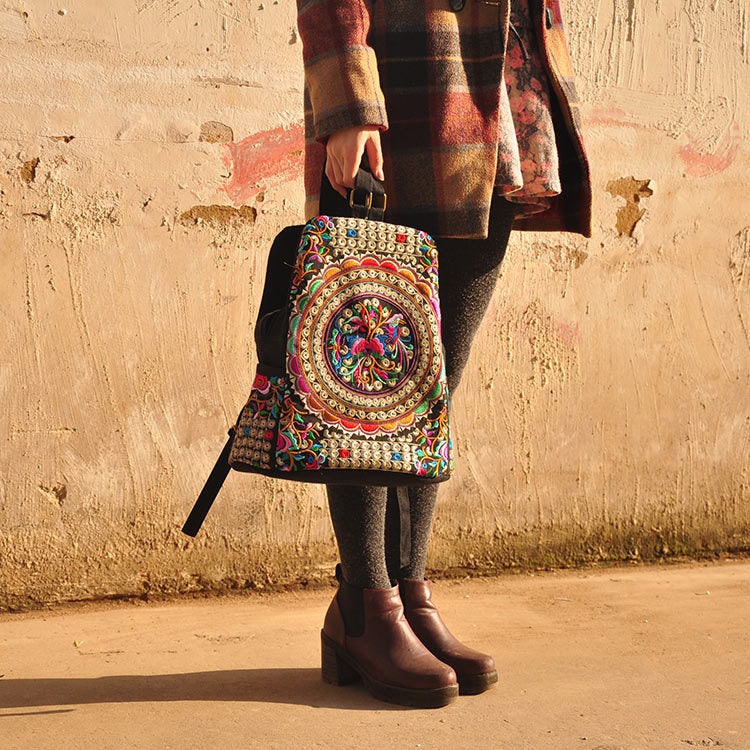 EMBROIDERY FLOWER MANDALA BOHO BAG - deities