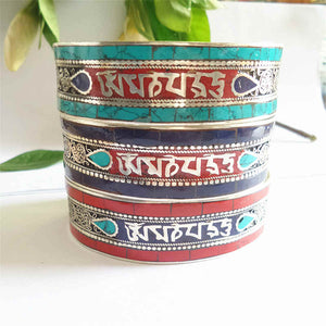 MIRACLE OM MANI PAD ME HUM TIBETAN MANTRA CUFF BANGLE - deities