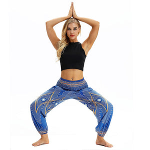 LIGHT BLUE DIAMOND YOGA PANTS - deities