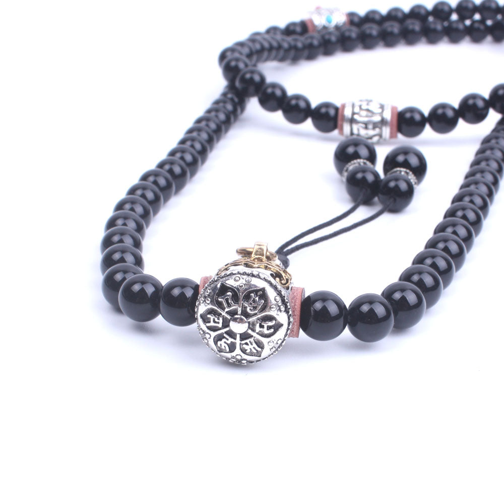 BLACK ONYX TIBETAN MALA BEADS NECKLACE - deities