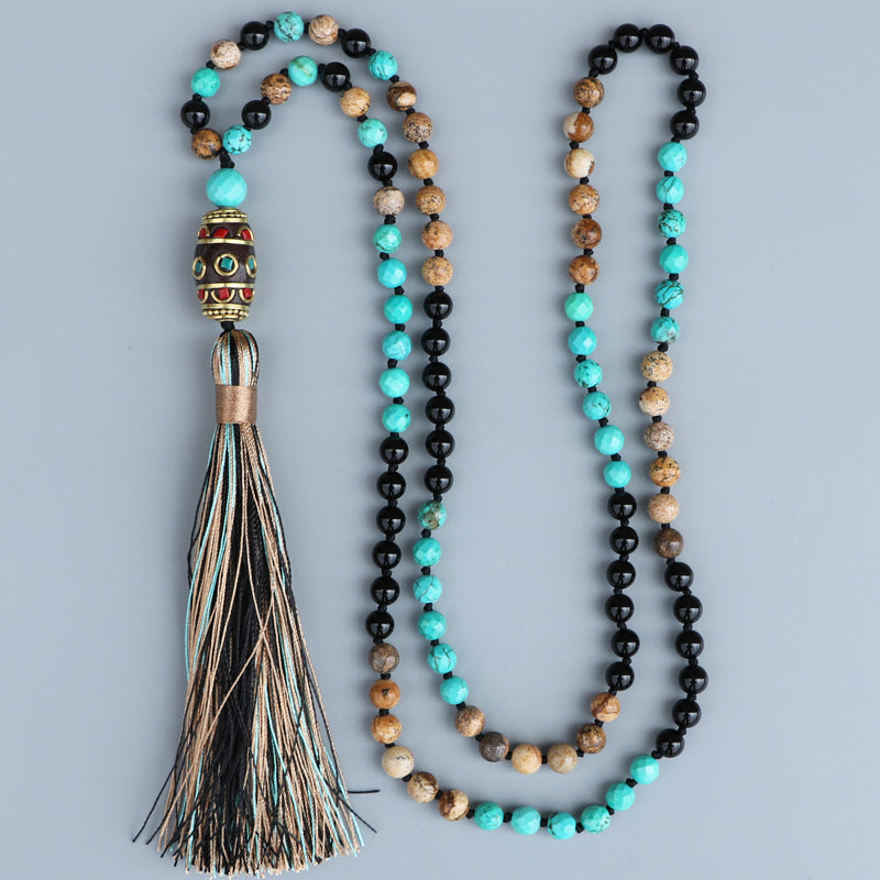 BLACK ONYX MALA WITH TIBETAN PENDANT - deities