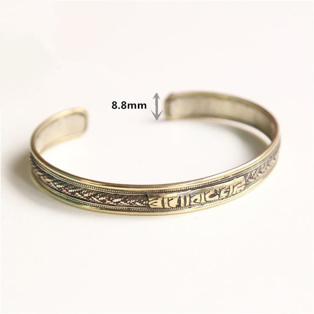 ADORN TIBETAN TRI METAL WOMEN BANGLE - deities