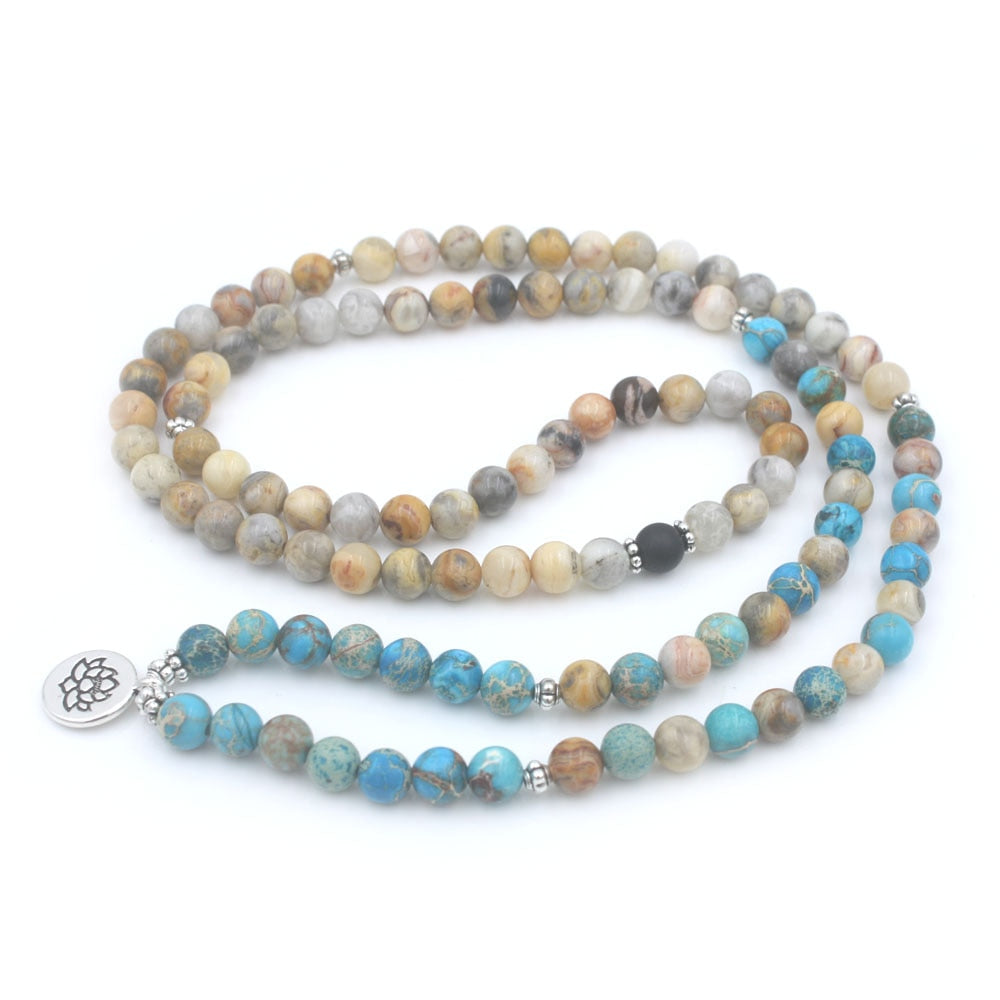 ONYX AND MARINE STONE MALA - deities