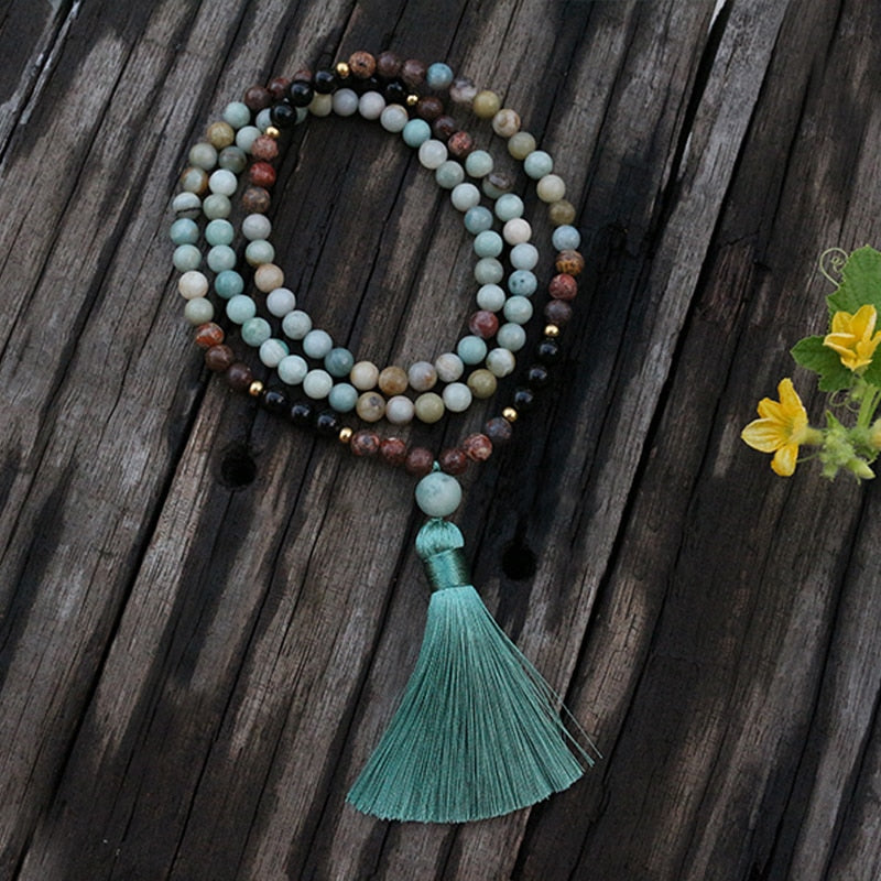 BLACK ONYX, AMAZONITE & TURQUOISE MALA BEADS NECKLACE - deities