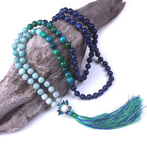 LAPIS LAZULI AND AMAZONITE MALA - deities