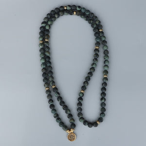NATURAL SPARROW STONE OM MALA BEADS NECKLACE - deities