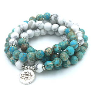 NATURAL WHITE AND BLUE HOWLITE STONE MALA - deities