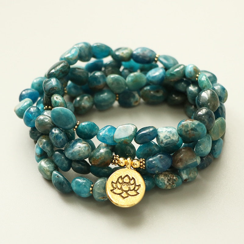 NATURAL APATITE LOTUS MALA - deities
