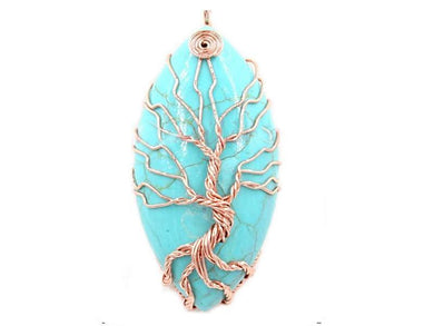 Tree of Life Cream & Turquoise Pendant - deities