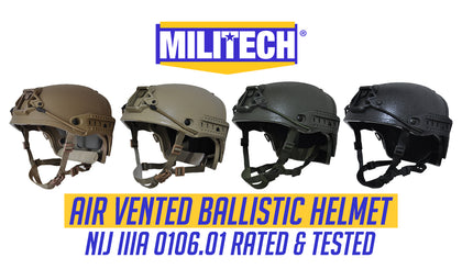 Militech® Air Vented High Cut NIJ IIIA Ballistic Helmet