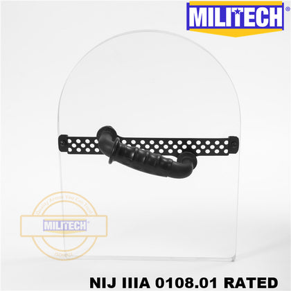 MILITECH® NIJ 0108.01 IIIA 3A Bulletproof Shield Hand Hold Ballistic Shield Tactical Police Ballistic Glass Arm Armor Shield